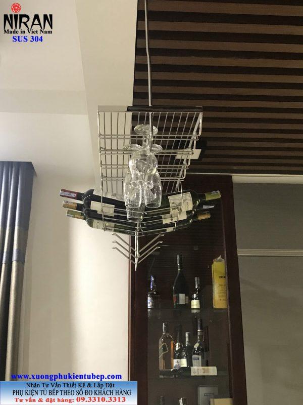 kệ quầy bar treo ly rượu niran inox 304