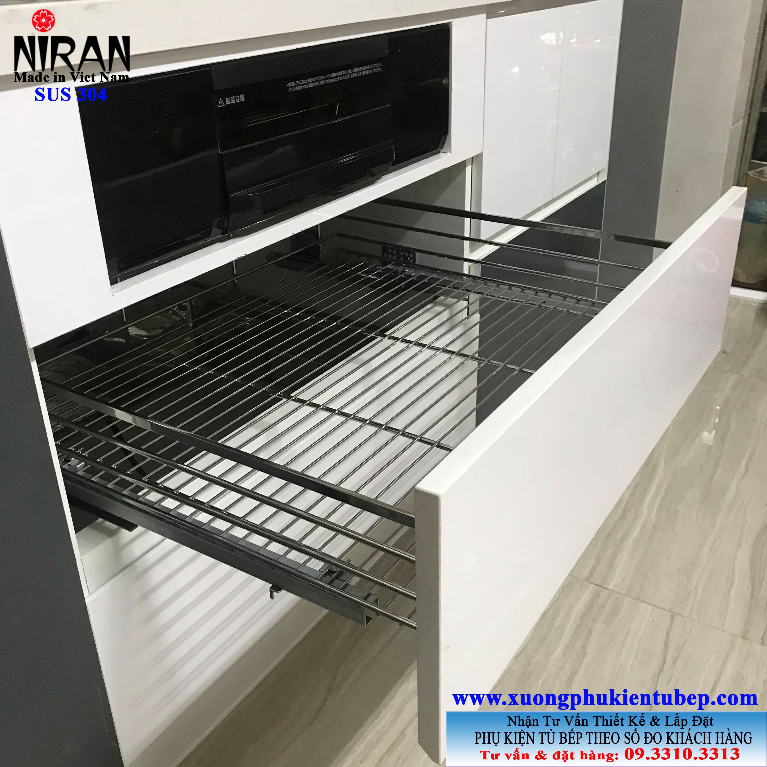 Rổ chén dĩa bắt mặt hộc Niran inox 304 NR0203