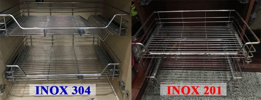 Phân biệt phụ kiện tủ bếp inox 304 và 201