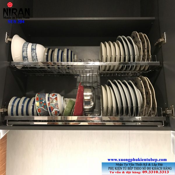 Kệ chén dĩa âm tủ Niran inox 304 NR0102