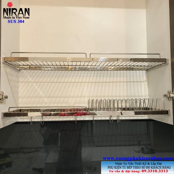 Kệ chén dĩa âm tủ 2 tầng Niran inox 304 NR0103