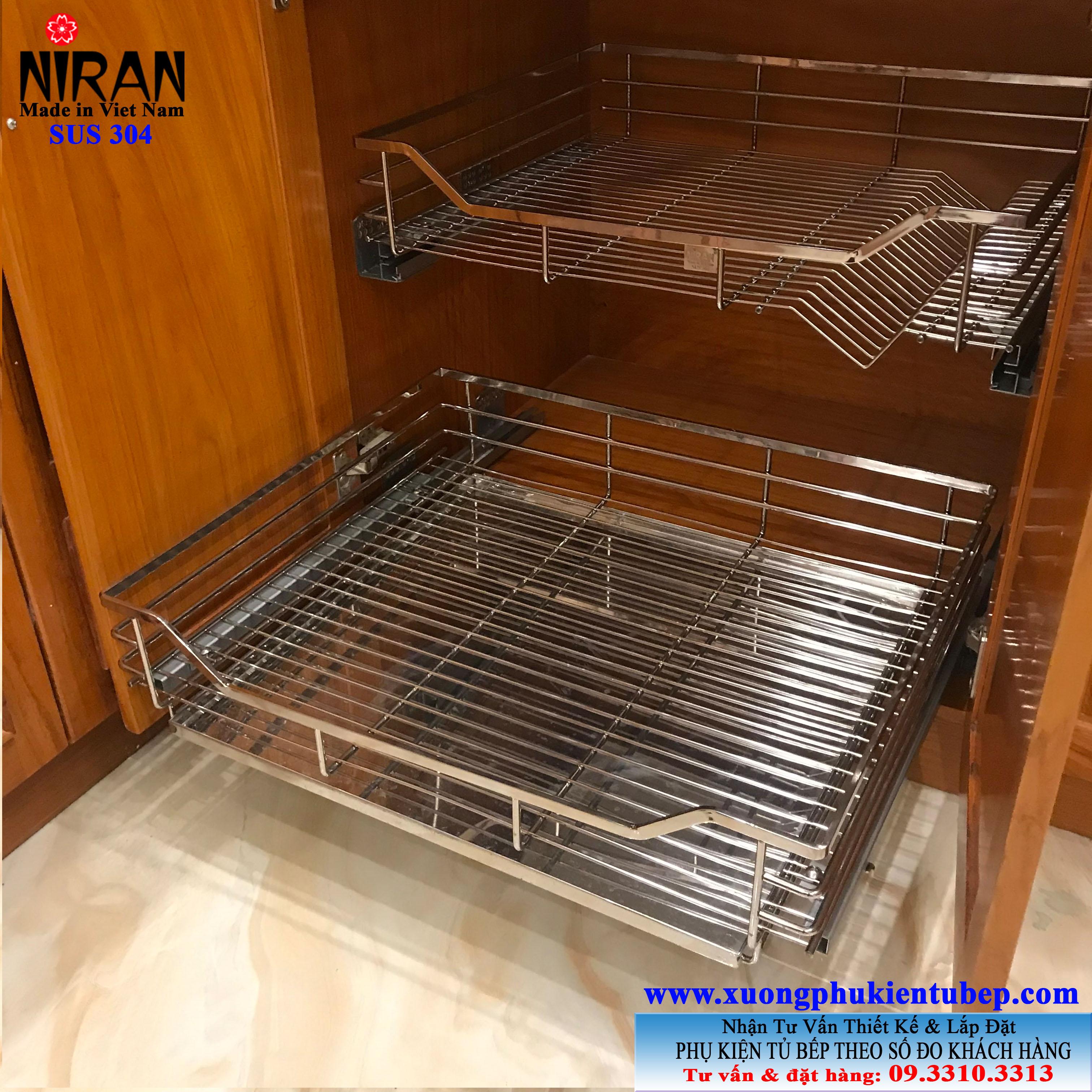 Rổ chén dĩa xoong nồi Niran inox 304 NR0201