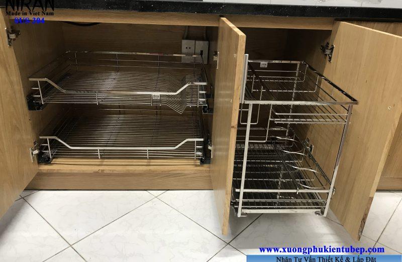 Thi công lắp đặt phụ kiện tủ bếp inox 304 hcm