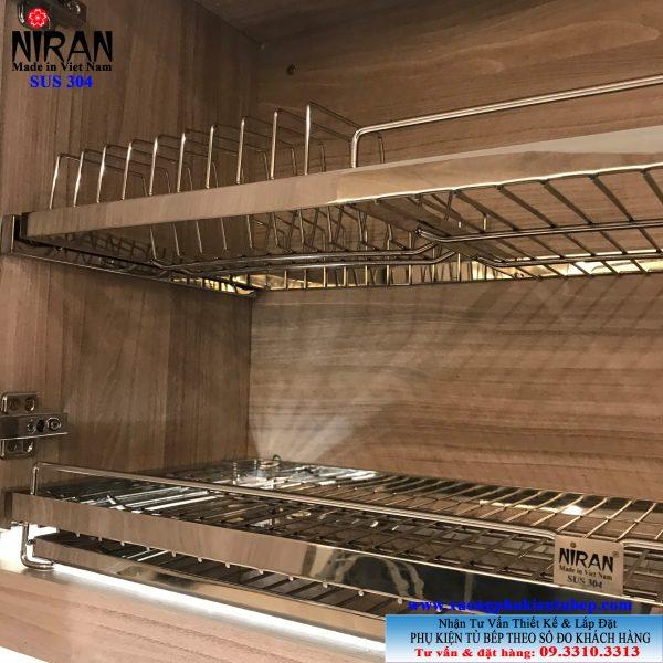 Kệ chén dĩa âm tủ Niran inox 304 NR0105