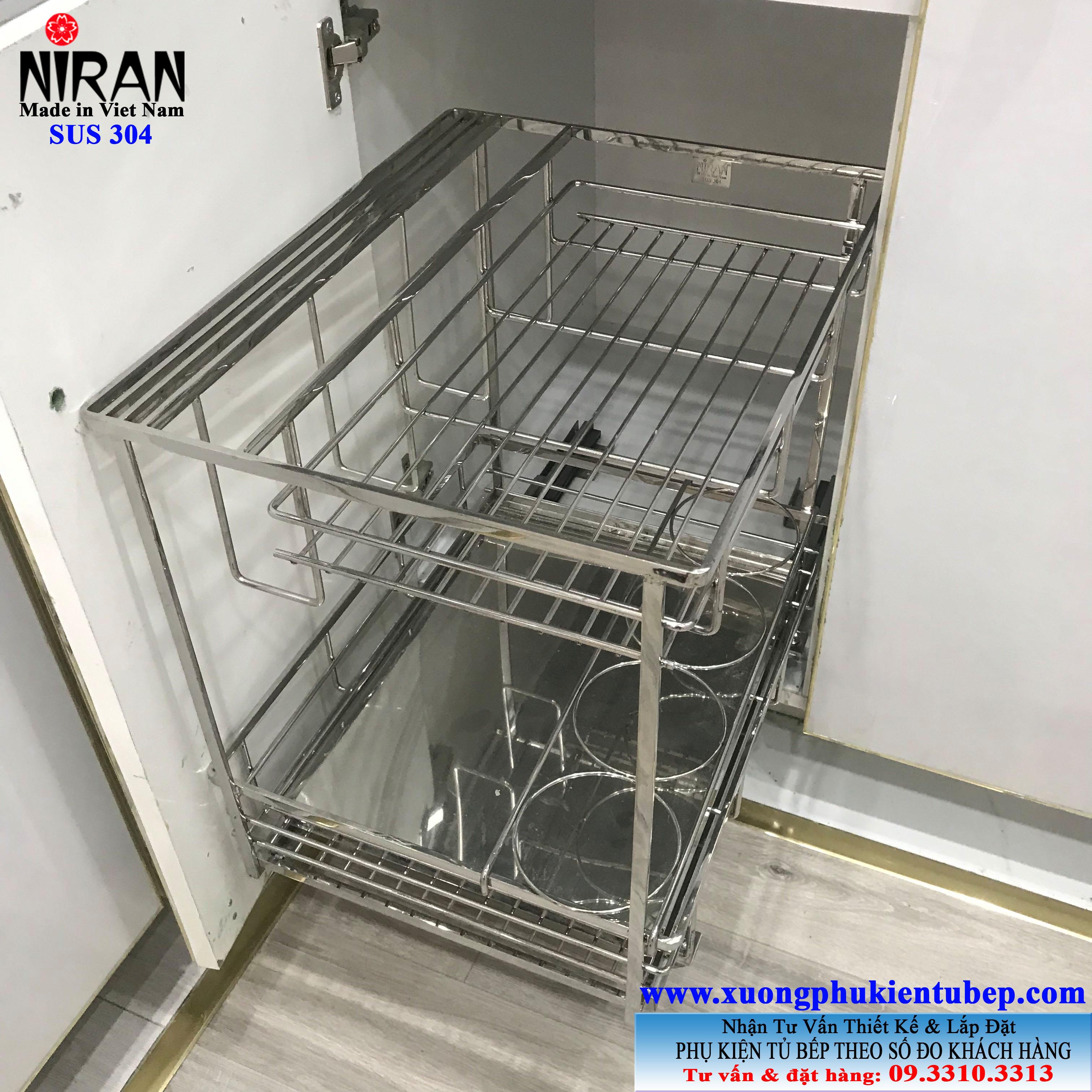 Kệ gia vị Niran inox 304 NR0302 có ray giảm chấn