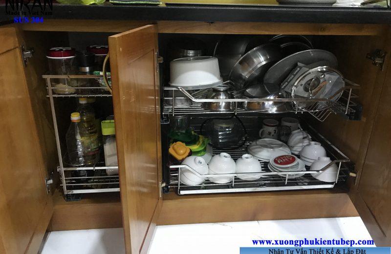 Thi công lắp đặt phụ kiện tủ bếp inox 304 TPHCM