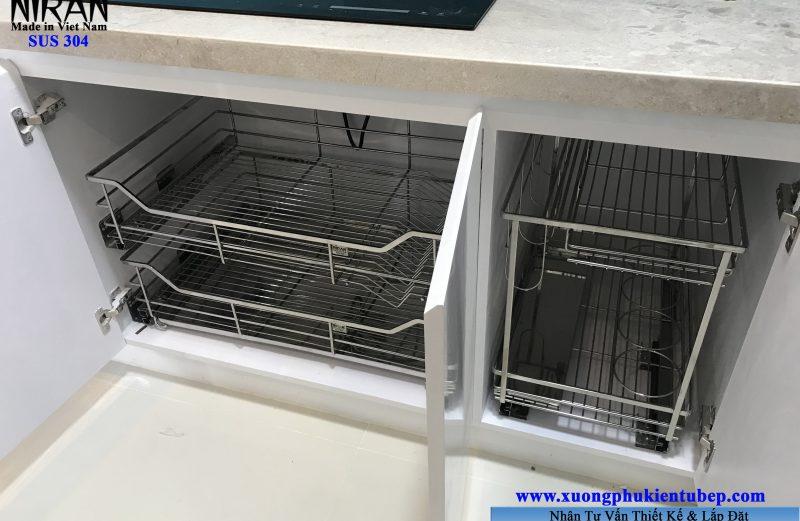 Phụ kiện tủ bếp inox 304 nhà anh Tuấn