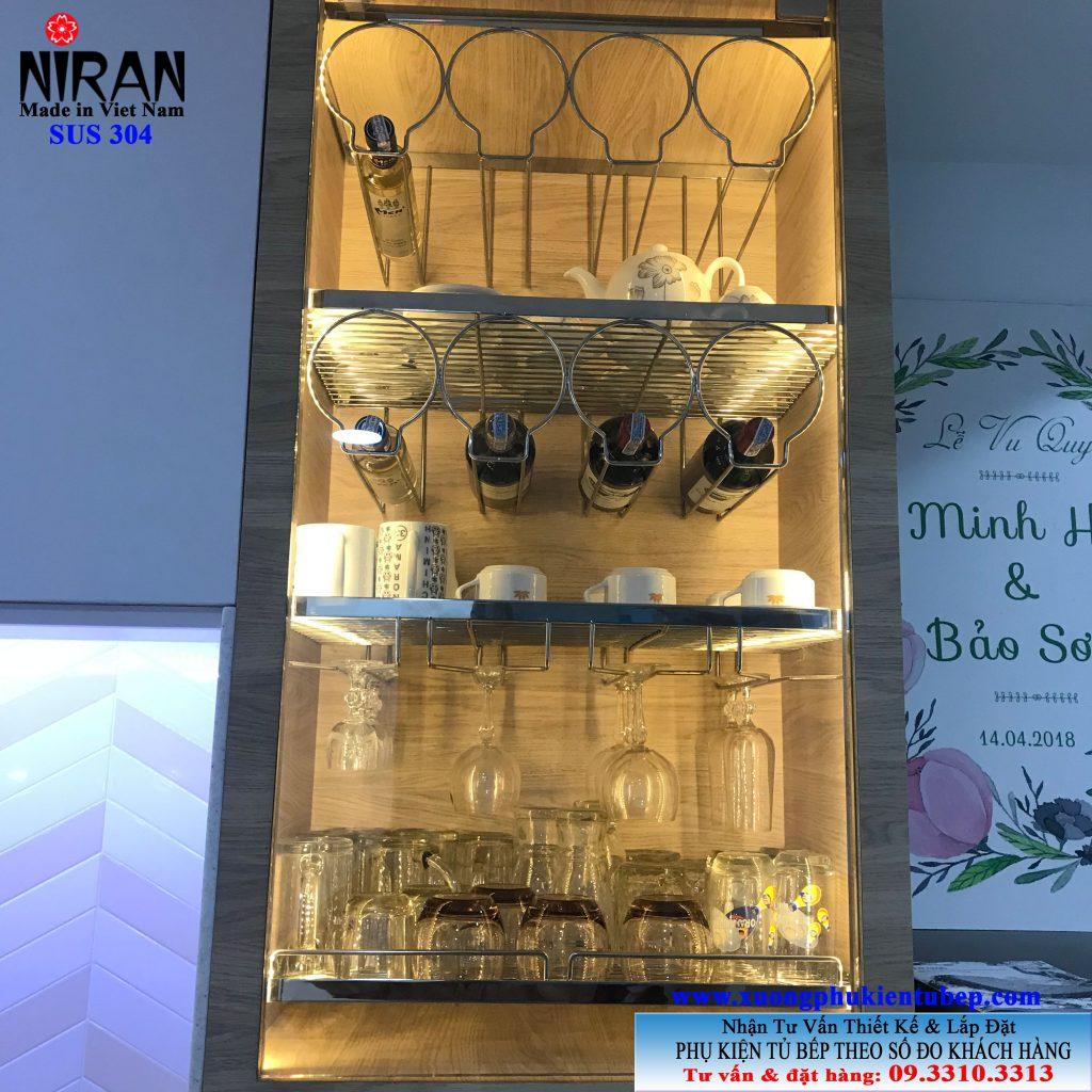 kệ treo ly inox 304 Niran