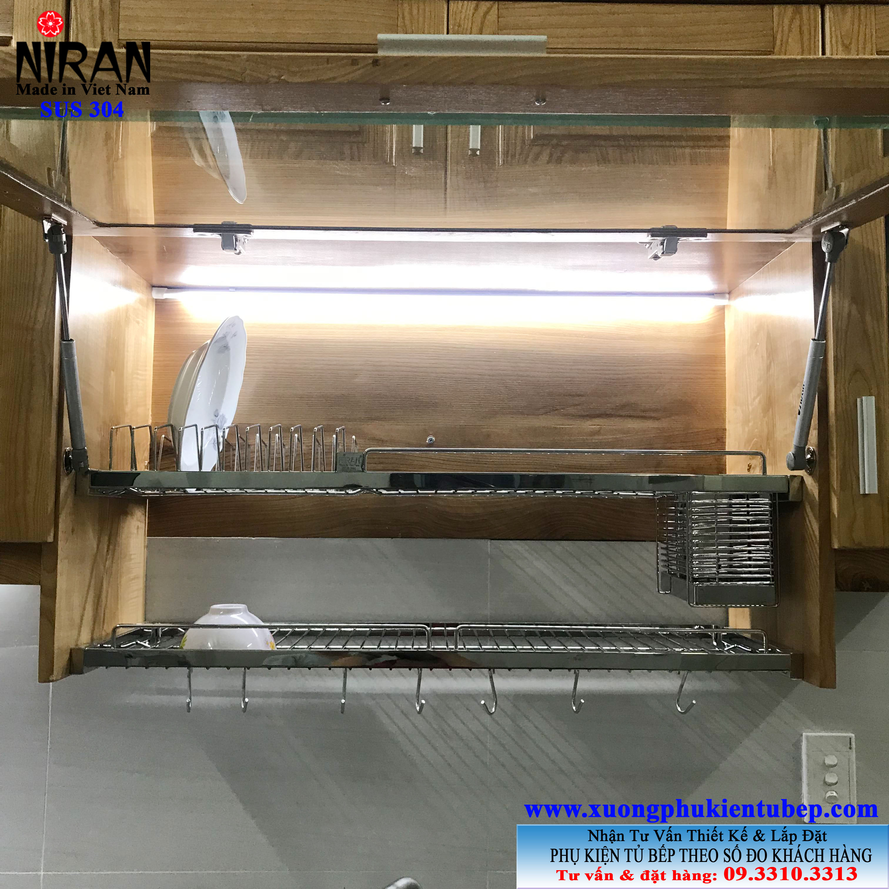 Ke chen am tu tren 2 tang inox 304 Niran NR0113