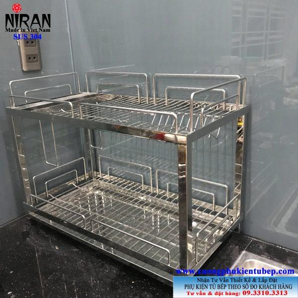 Kệ úp chén dĩa 2 tầng trên bồn rửa inox 304