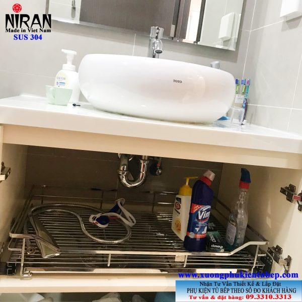 Kệ để dưới tủ lavabo inox 304 Niran NR2003