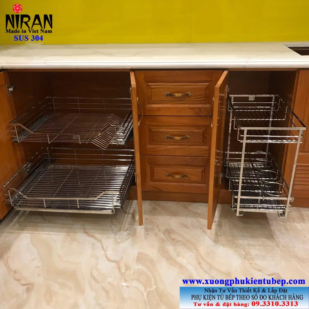Kệ đựng chén dĩa inox 304 Niran NR0201 và Kệ gia vị inox 304 Niran NR0301