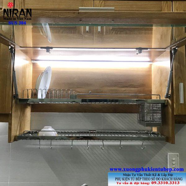 Kệ chén âm tủ trên 2 tầng inox 304 Niran NR0113