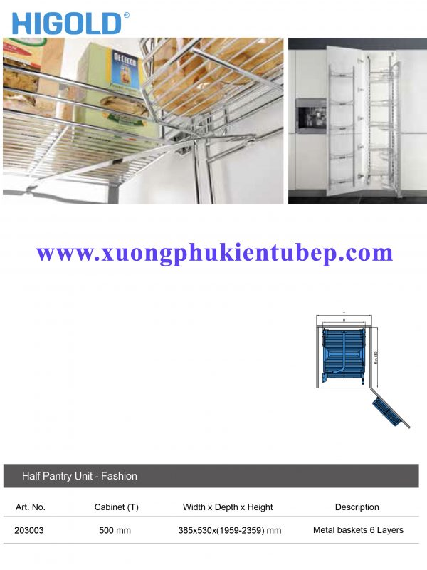 thông số Kệ tủ đồ khô 18 rổ inox 304 Higold 203003