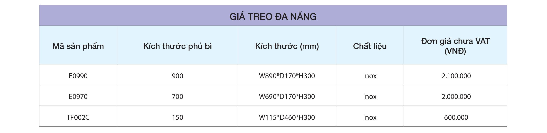 BẢNG GIÁ Giá treo đa năng TF002C – Eurogold