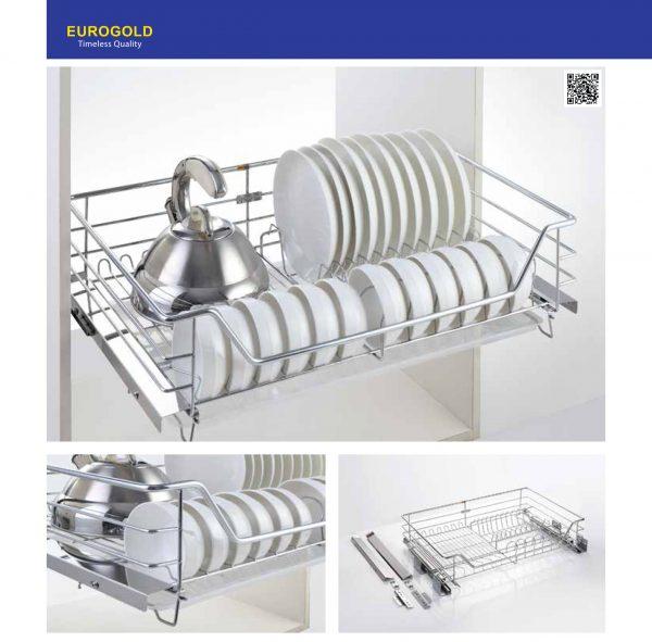 Giá bát đĩa inox nan âm tủ gắn cánh, ray giảm chấn EG62.60 – Eurogold