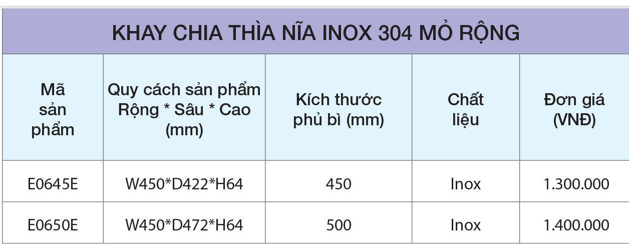 BẢNG GIÁ Khay chia thìa dĩa inox 304 mỏ rộng E0645E – Eurogold