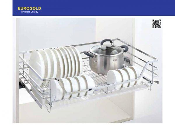 Giá xoong nồi,bát đĩa EP60 inox 304 nan dẹt gắn cánh âm tủ – Eurogold