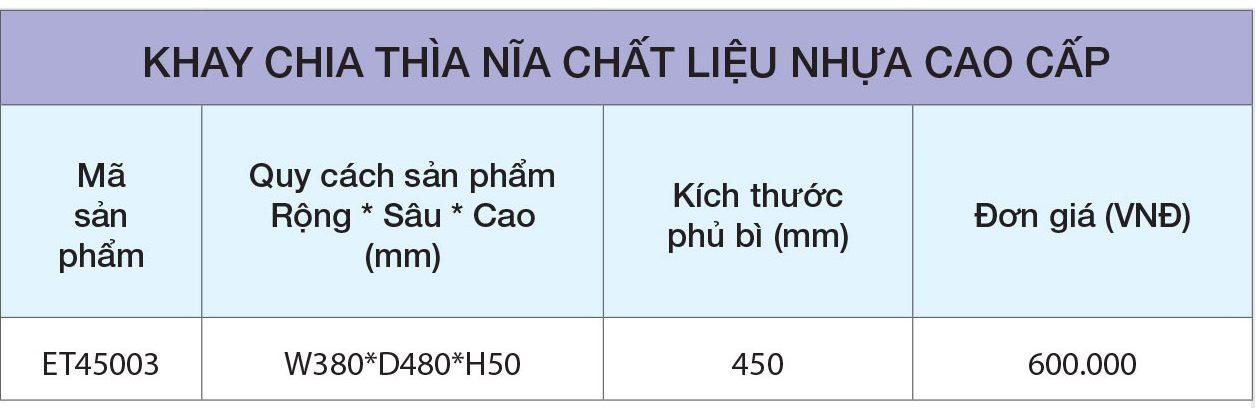 BẢNG GIÁ Khay chia thìa dĩa nhựa cao cấp ET45003 – Eurogold