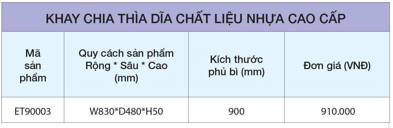 BẢNG GIÁ Khay chia thìa dĩa nhựa cao cấp ET90003 – Eurogold