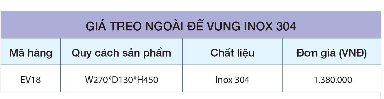 BẢNG GIÁ Giá treo ngoài để vung inox 304 EV18 – Eurogold
