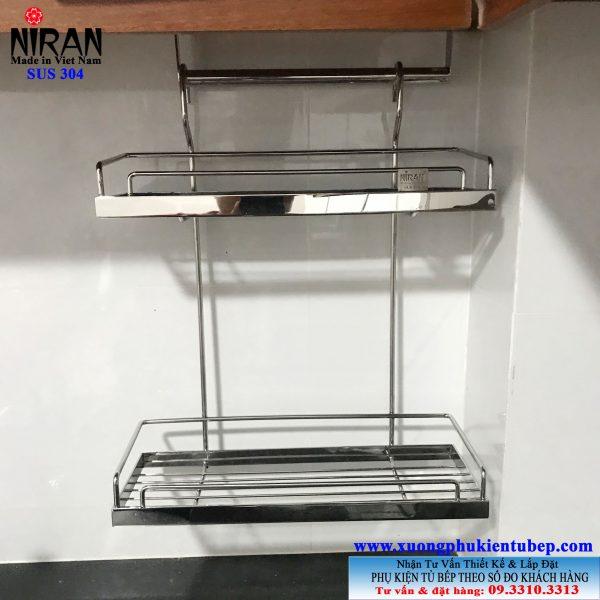 Kệ treo gia vị 2 tầng inox 304 Niran NR3005