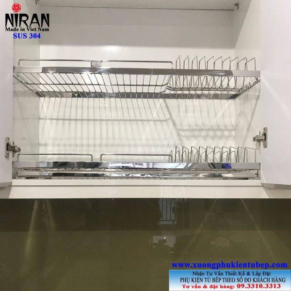 Kệ chén âm tủ trên 2 tầng inox 304 Niran NR0114