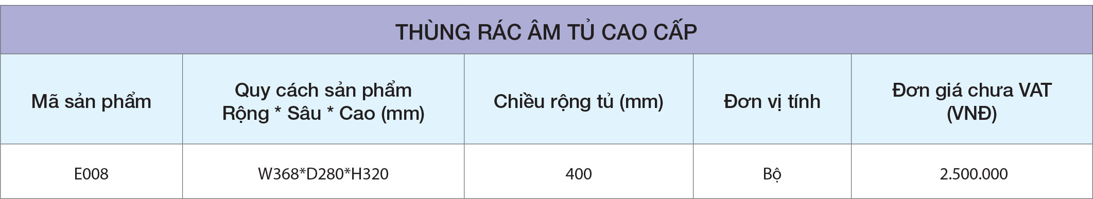 Thông số Thùng rác âm tủ E008 cao cấp Eurogold