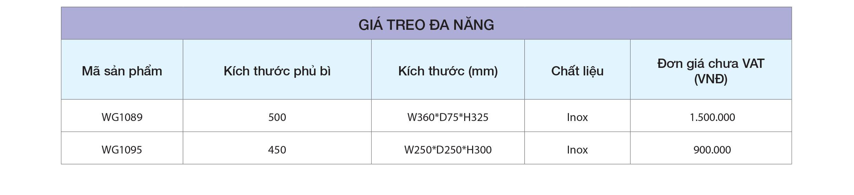 bảng giá Giá treo đa năng WG1089 – Eurogold
