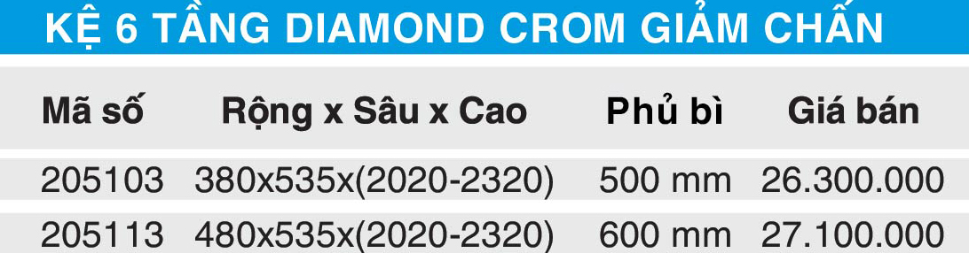 bang gia ke 6 tang diamond giam chan higold 205103