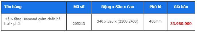 bảng giá Kệ 6 tầng diamond bẻ trái phải - Higold 205213