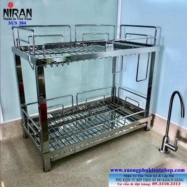 Kệ úp chén dĩa để bàn 2 tầng inox 304 NR1002