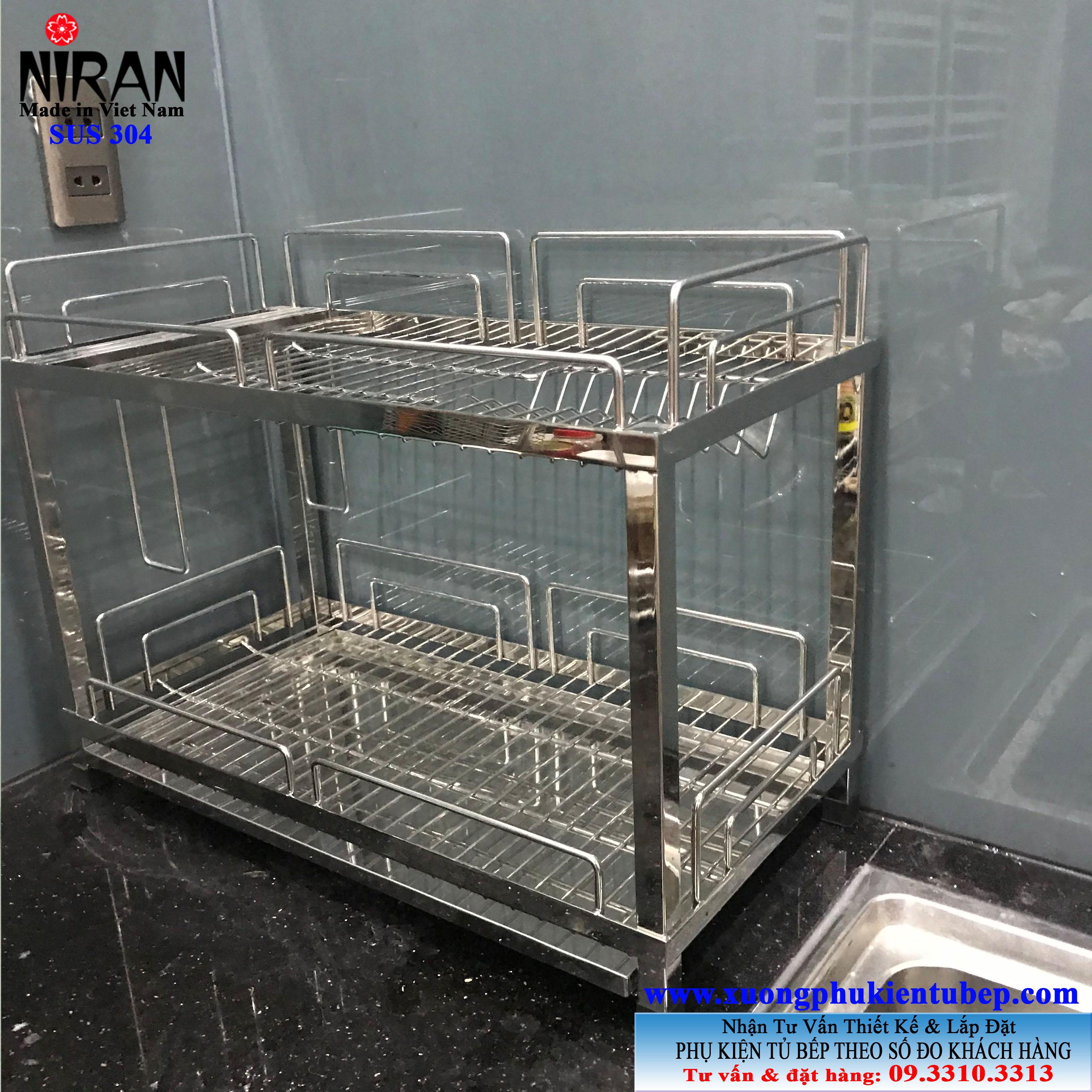 Kệ chén dĩa 2 tầng để bàn inox 304 Niran NR1002