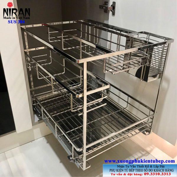 Kệ gia vị đa năng inox 304 có ray kéo Niran NR0308