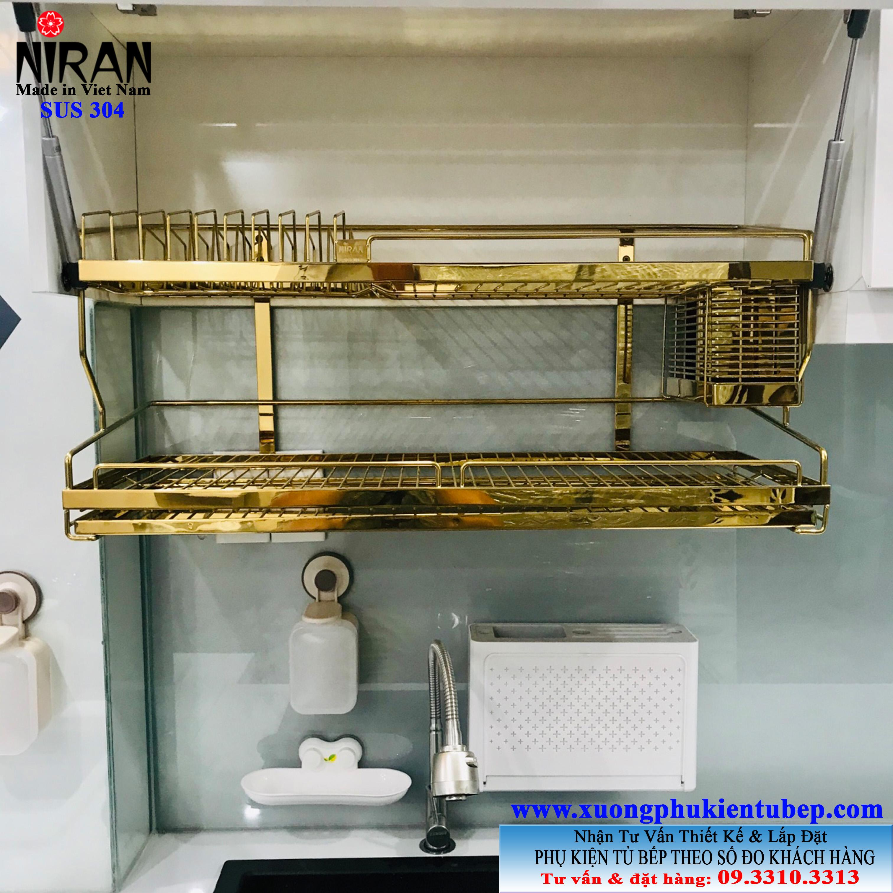 kệ úp chén inox 304 2 tầng vàng gold