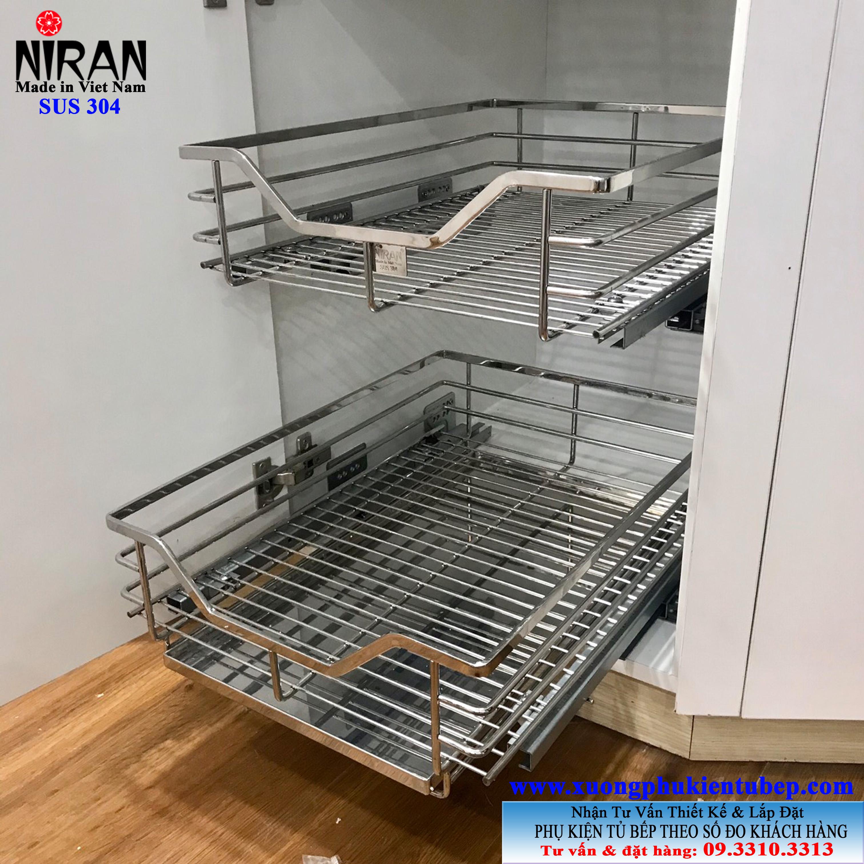 rổ tủ đồ khô 2 tầng inox 304 có ray kéo