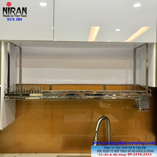 Giá chén dĩa treo đáy tủ inox 304 Niran NR0613