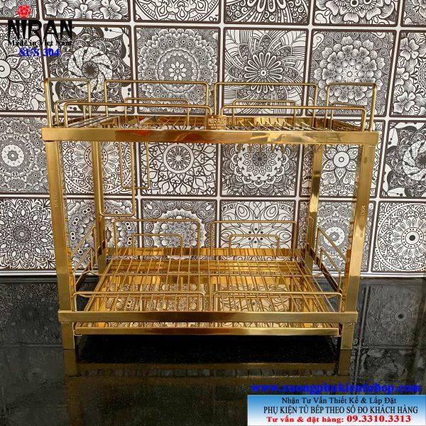 Kệ đựng chén bát 2 tầng inox 304 mạ vàng để tủ bếp