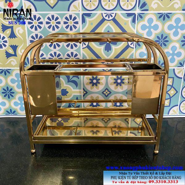 Giá để dao thớt đa năng trong tủ bếp inox 304 mạ vàng Niran NR3019