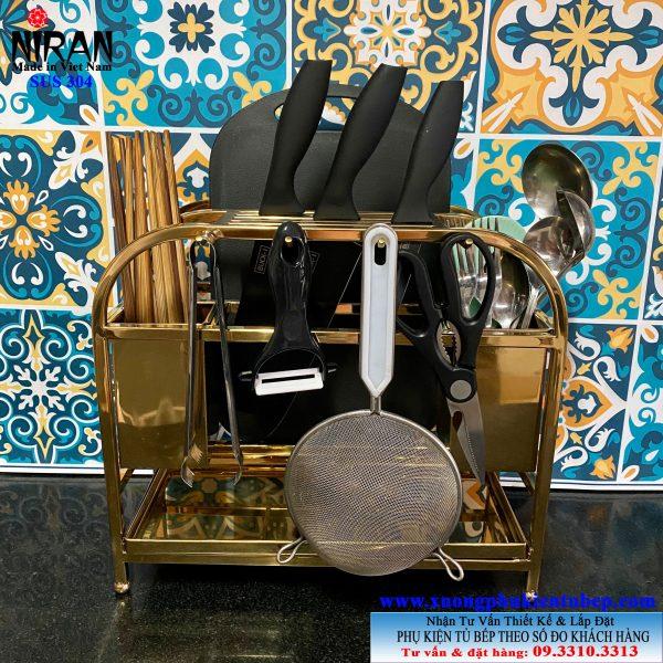 Kệ để dụng cụ bếp đa năng inox 304 vàng Niran NR3019