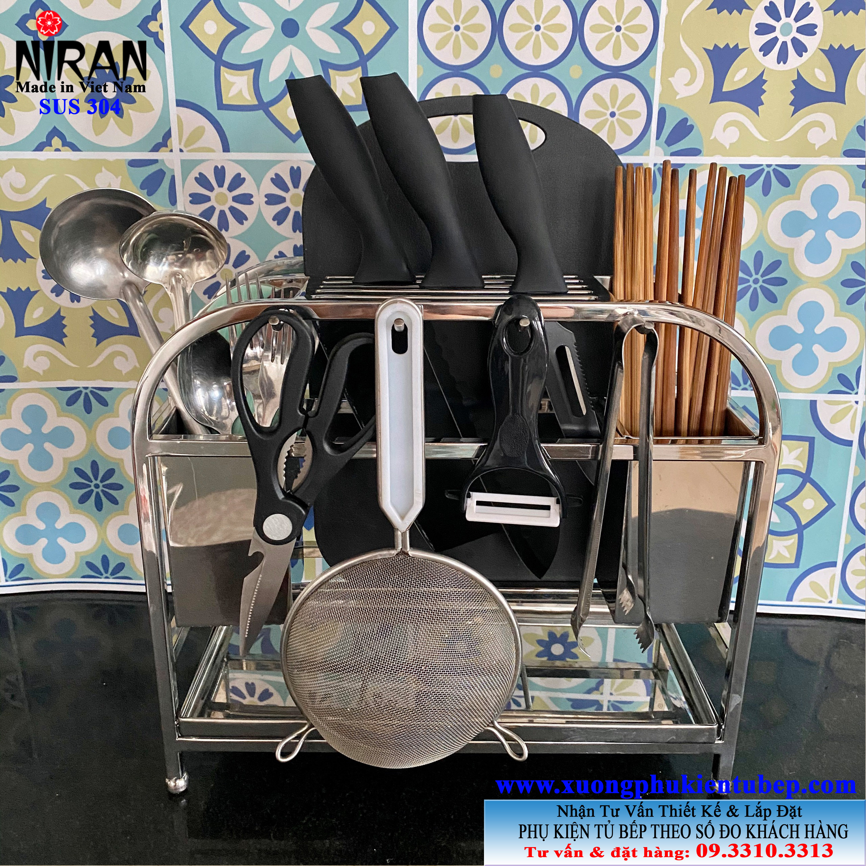 Kệ đựng dao thớt đa năng để bàn inox 304 cao cấp Niran 3020