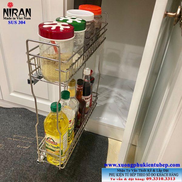 Kệ gia vị 2 tầng tủ bếp dưới inox 304 Niran NR0313