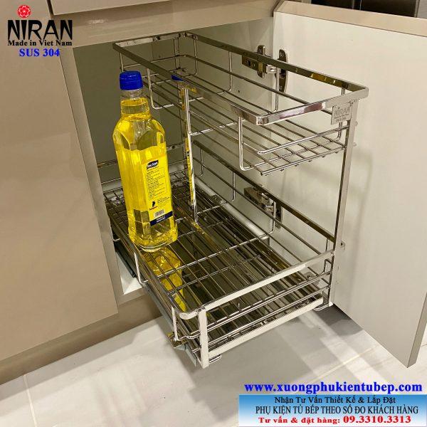 Kệ gia vị 2 tầng âm tủ có ray kéo cho hộc tủ bếp nhỏ gọn Niran NR0314