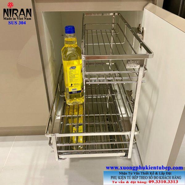 Kệ gia vị kéo âm tủ 2 tầng inox 304 cao cấp Niran NR0314
