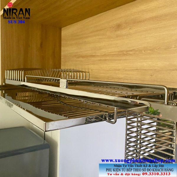 giá bát dĩa 1 tầng inox 304 âm tủ bếp trên chậu rửa