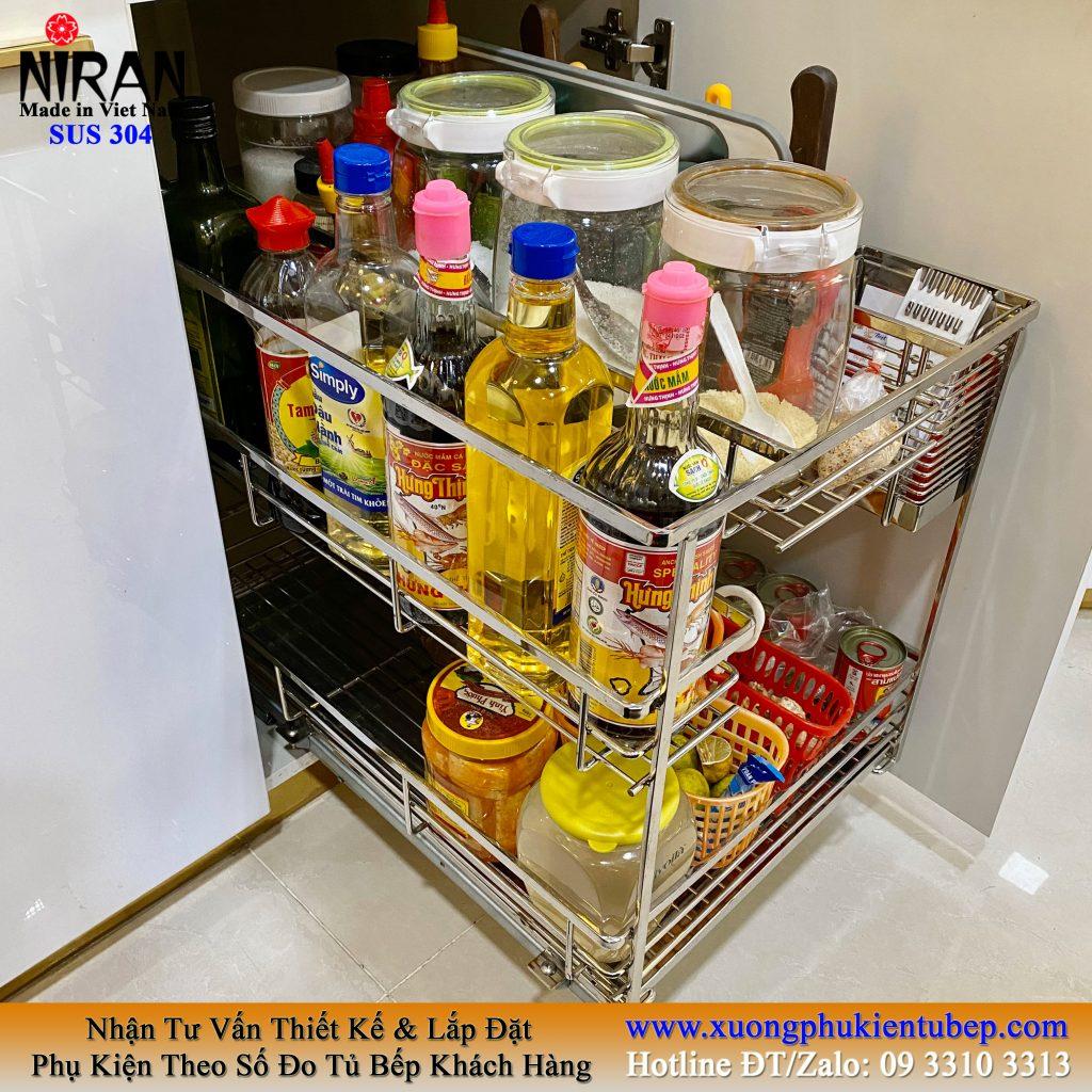 giá đựng chai lọ gia vị 2 tầng đa năng âm tủ bếp dưới inox 304
