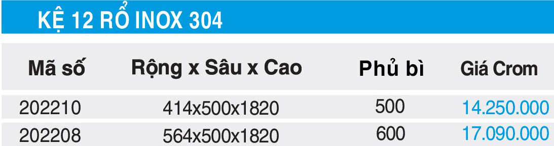 bang gia thong so ke 12 ro higold inox 304 202210, 202208